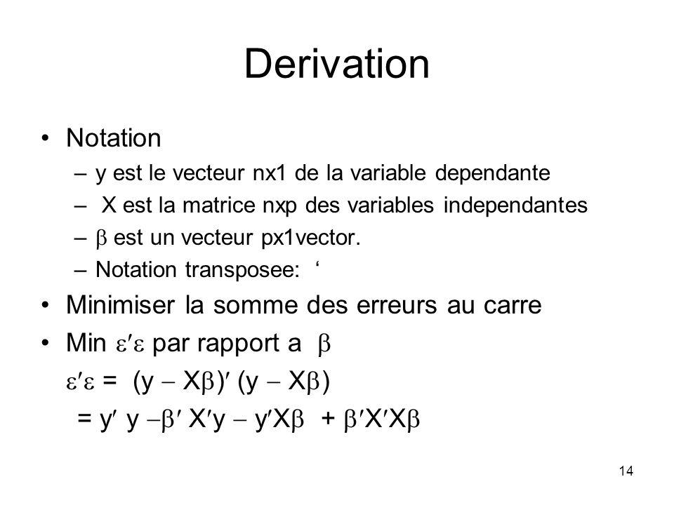 Derivation Notation Minimiser la somme des erreurs au carre