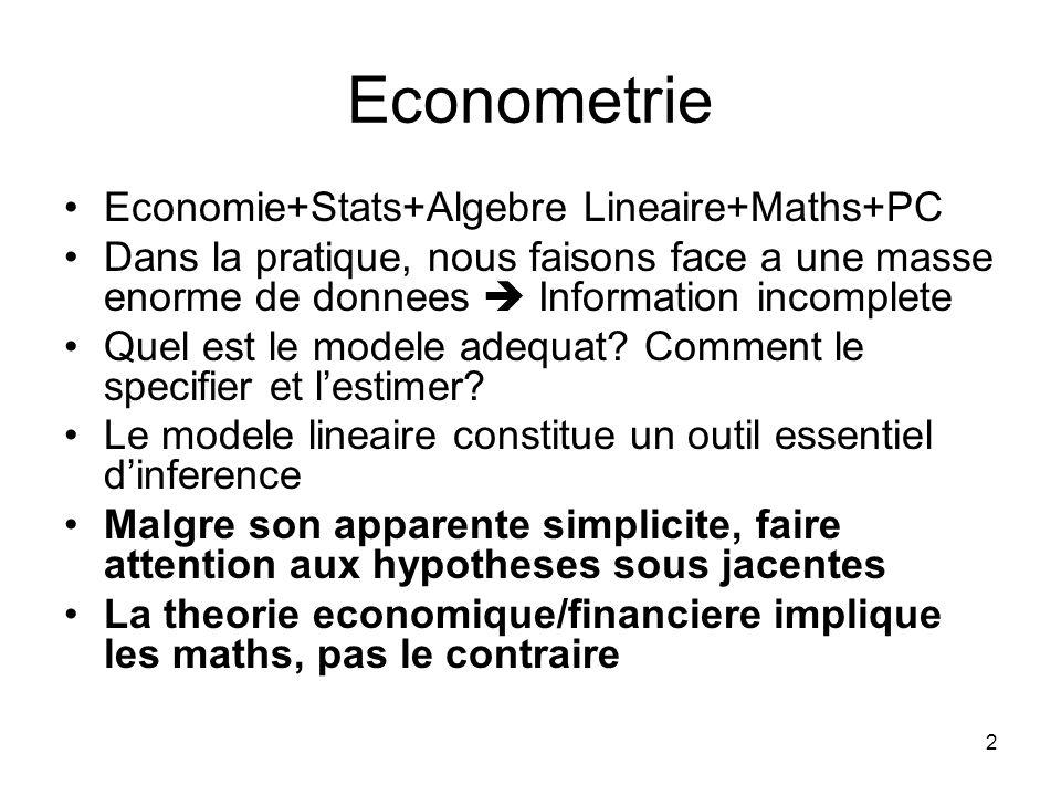 Econometrie Economie+Stats+Algebre Lineaire+Maths+PC