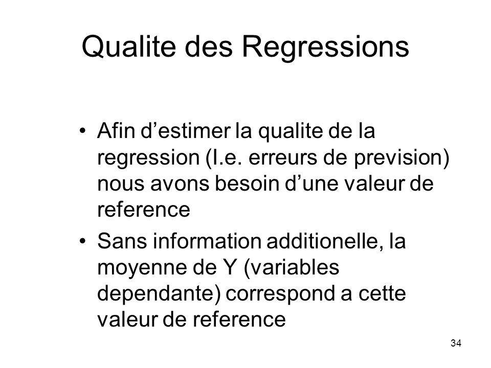 Qualite des Regressions