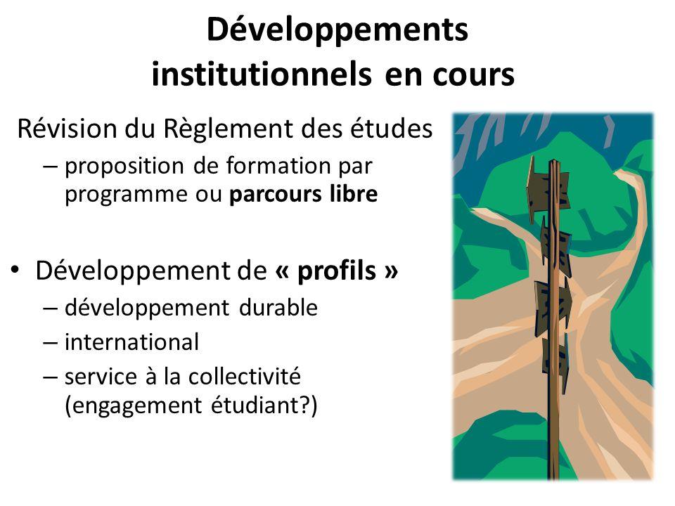 Développements institutionnels en cours