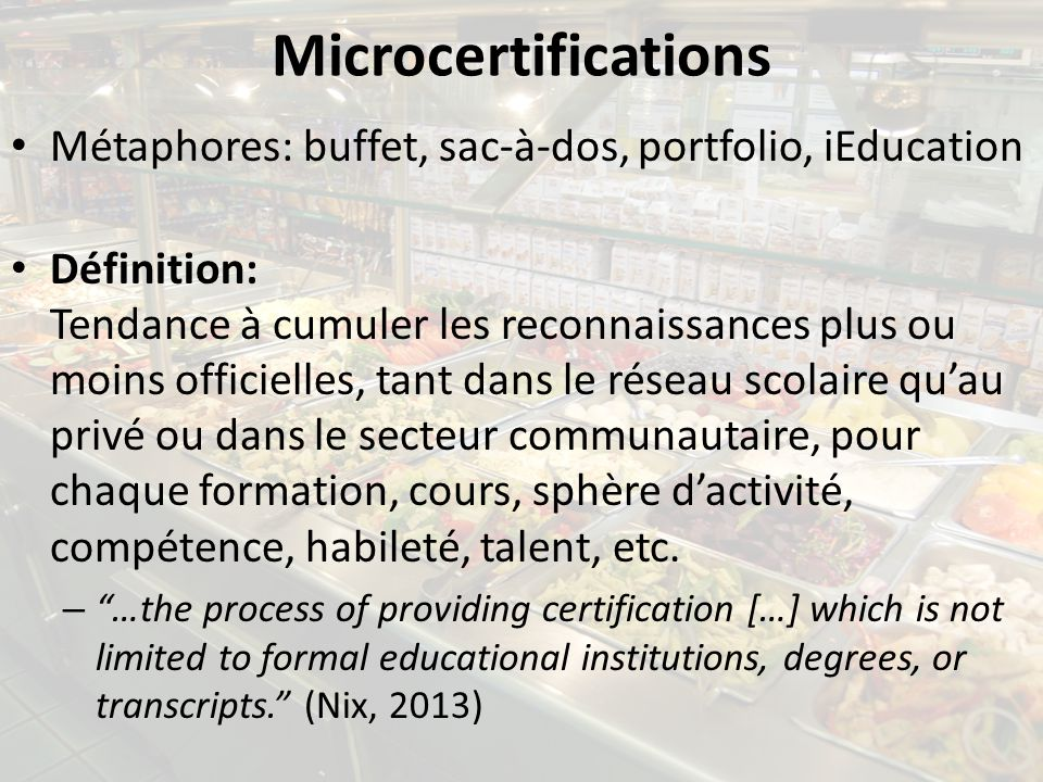 Microcertifications Métaphores: buffet, sac-à-dos, portfolio, iEducation.