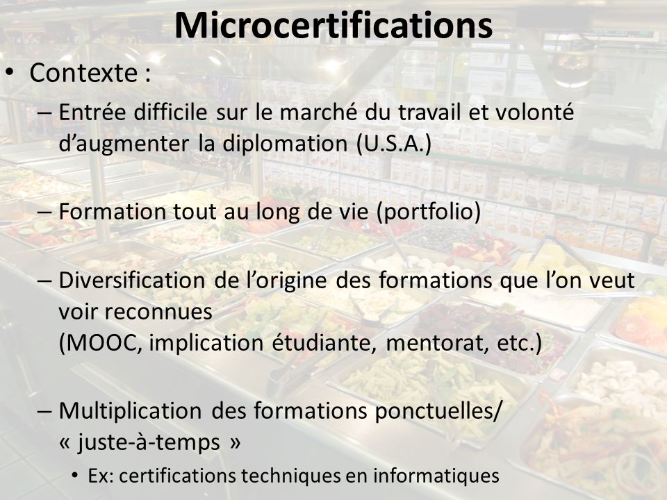 Microcertifications Contexte :