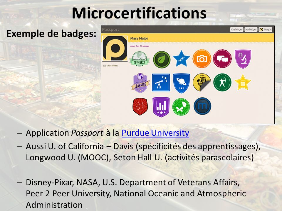 Microcertifications Exemple de badges: