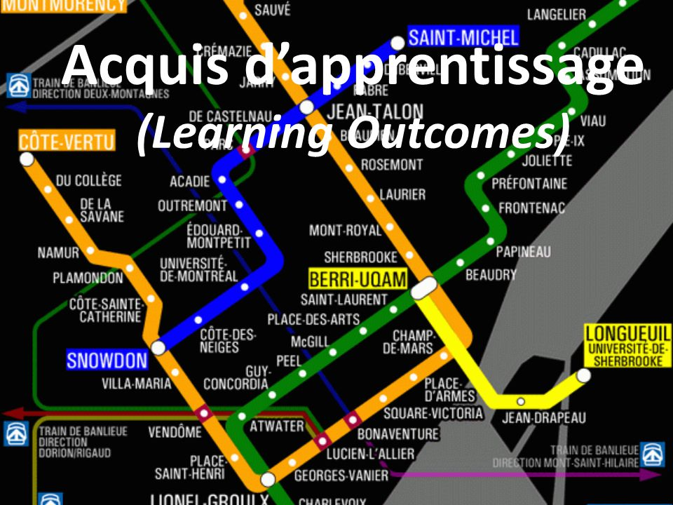 Acquis d'apprentissage (Learning Outcomes)