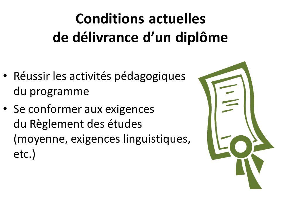 Conditions actuelles de délivrance d'un diplôme