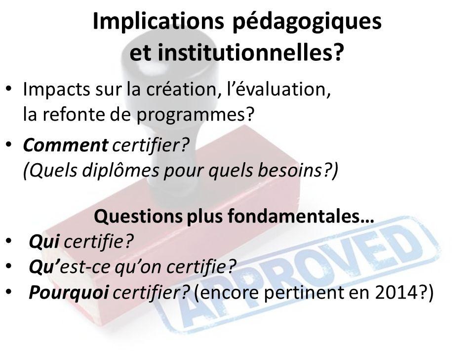 Implications pédagogiques et institutionnelles