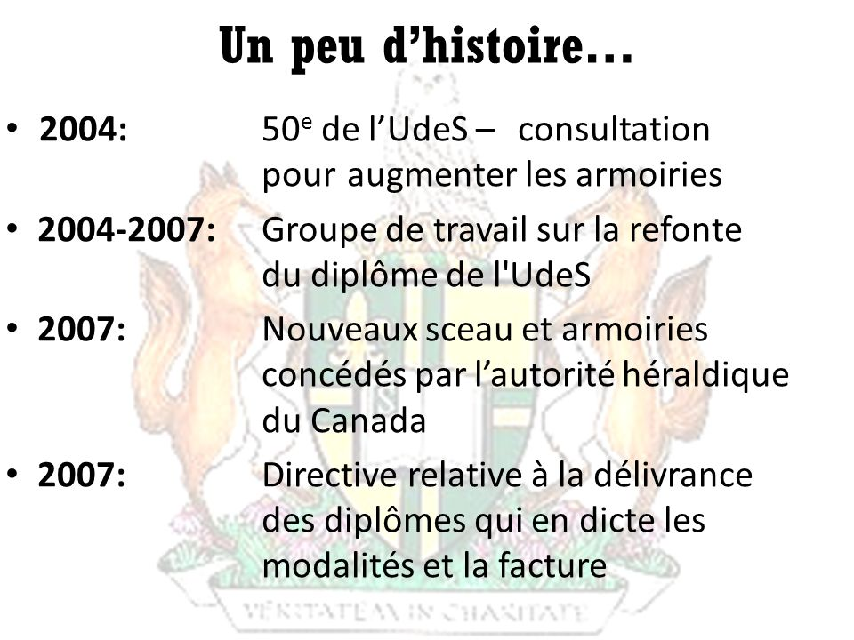 Un peu d'histoire… 2004: 50e de l'UdeS – consultation
