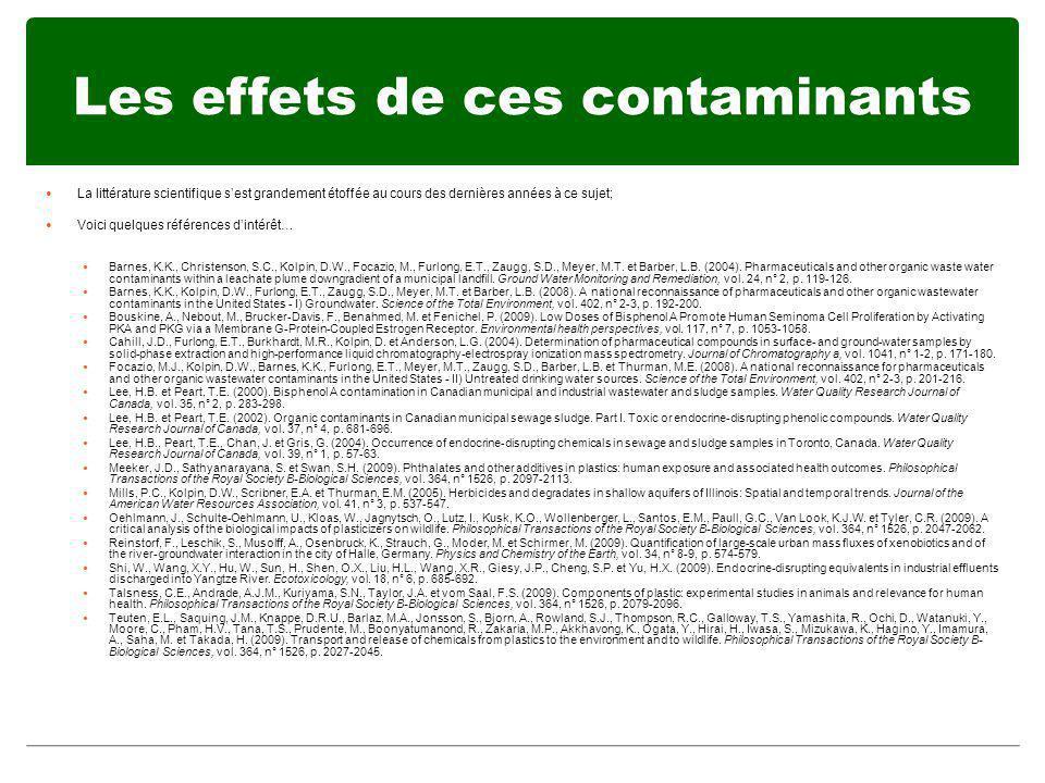 Les effets de ces contaminants