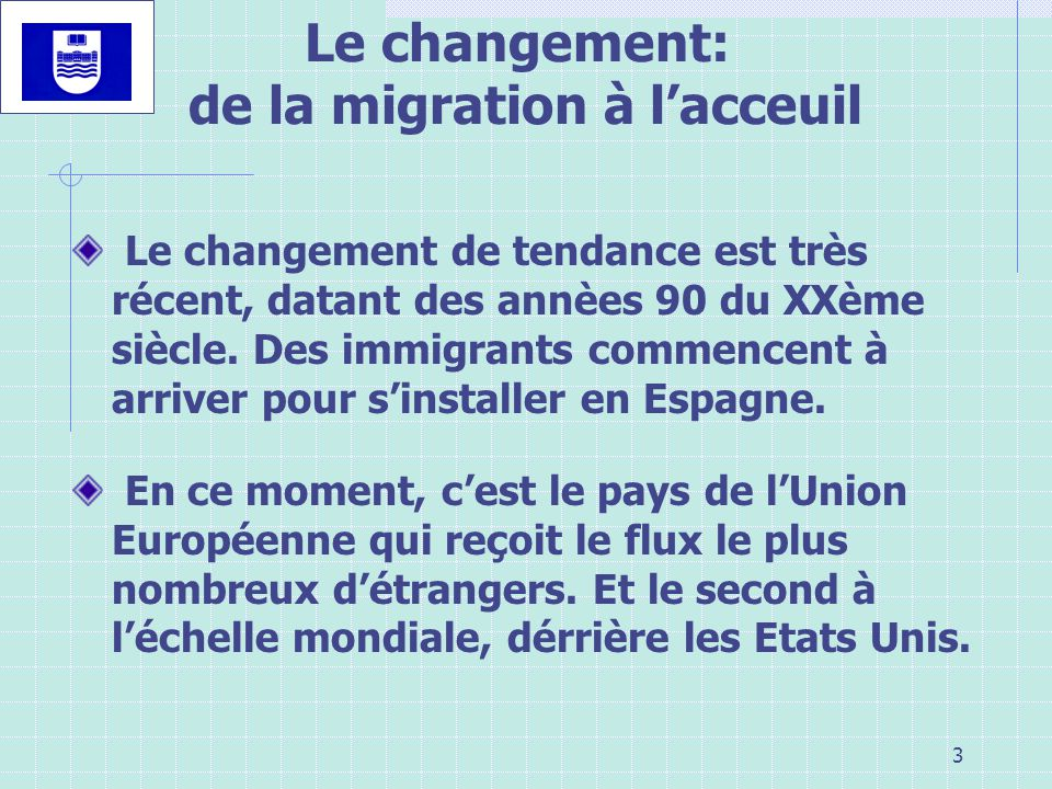 Le changement: de la migration à l'acceuil