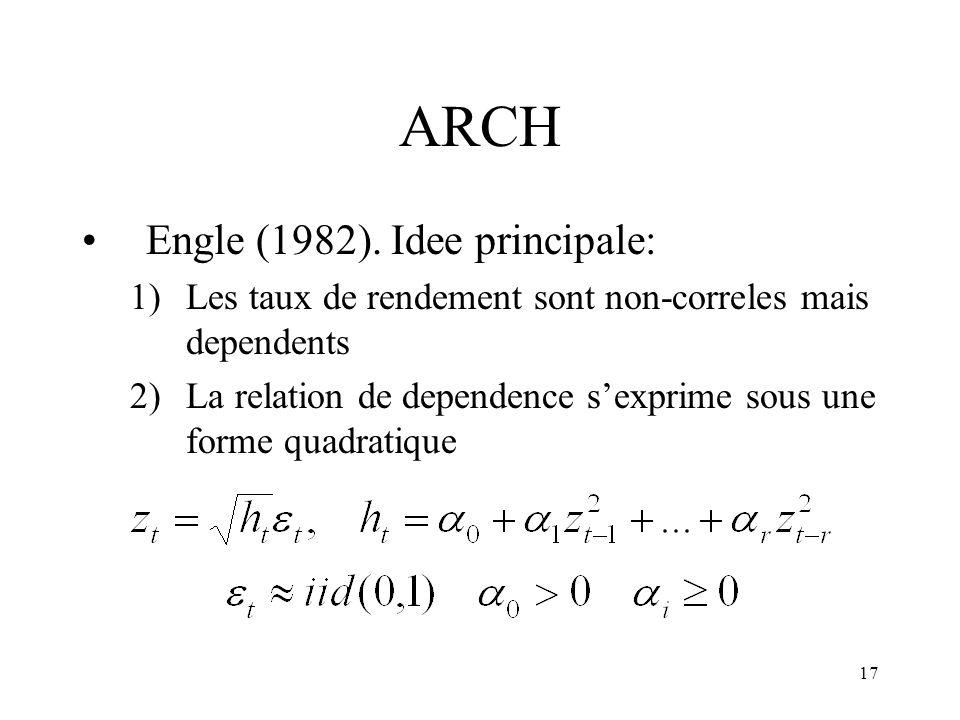 ARCH Engle (1982). Idee principale: