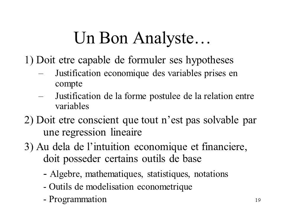 Un Bon Analyste… 1) Doit etre capable de formuler ses hypotheses