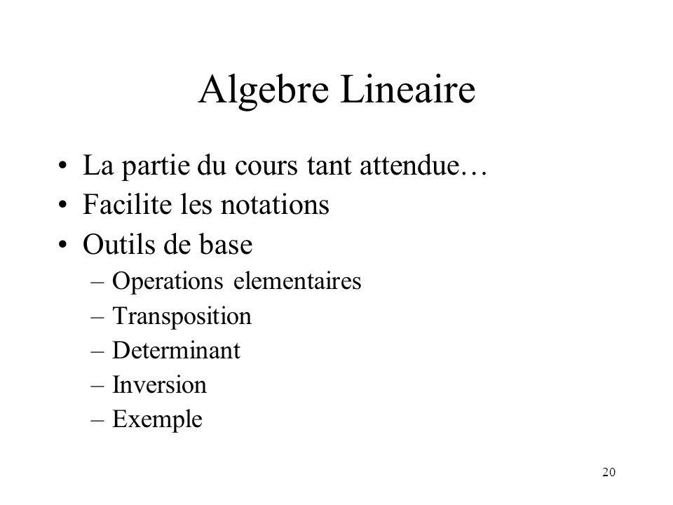 Algebre Lineaire La partie du cours tant attendue…
