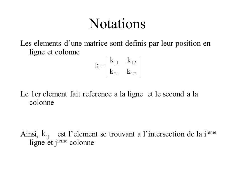 Notations Les elements d'une matrice sont definis par leur position en ligne et colonne.
