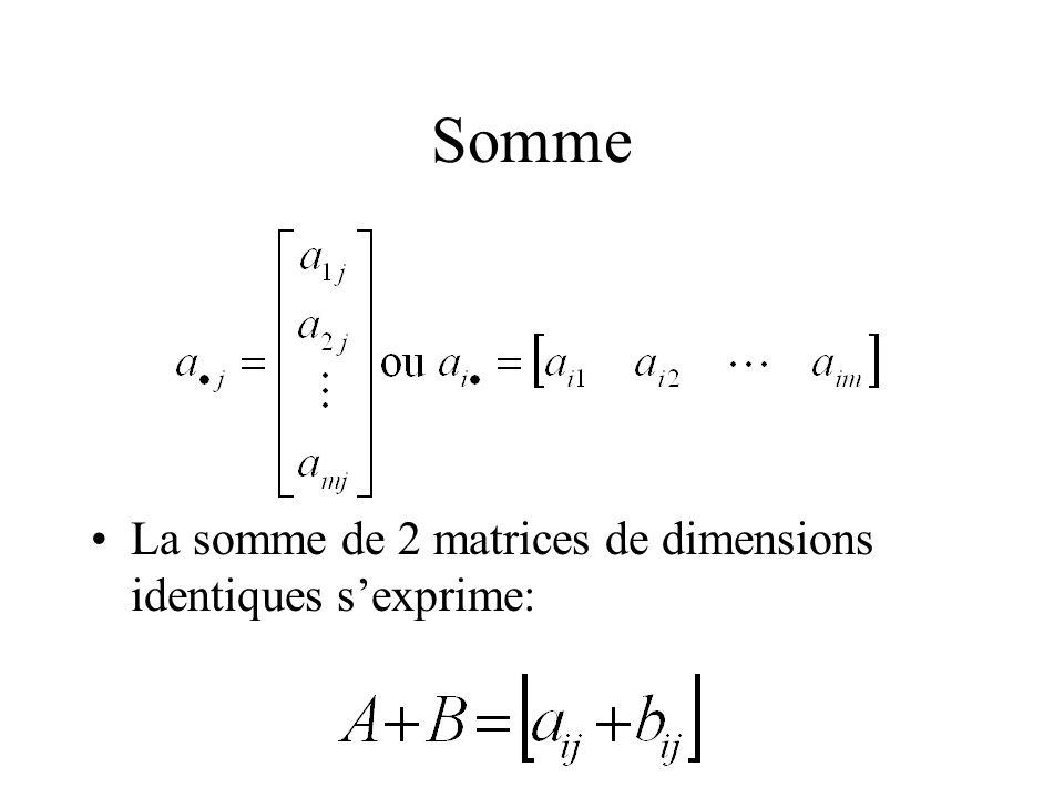 Somme La somme de 2 matrices de dimensions identiques s'exprime: