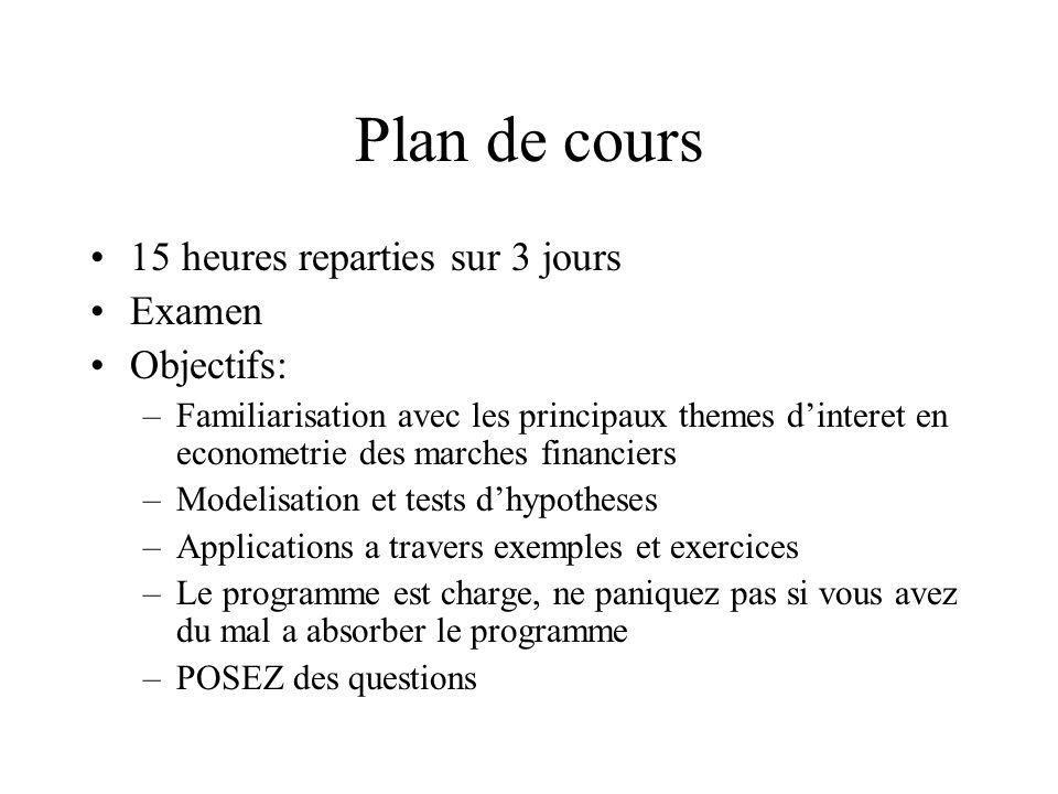 Plan de cours 15 heures reparties sur 3 jours Examen Objectifs: