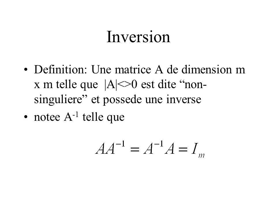 Inversion Definition: Une matrice A de dimension m x m telle que |A|<>0 est dite non-singuliere et possede une inverse.