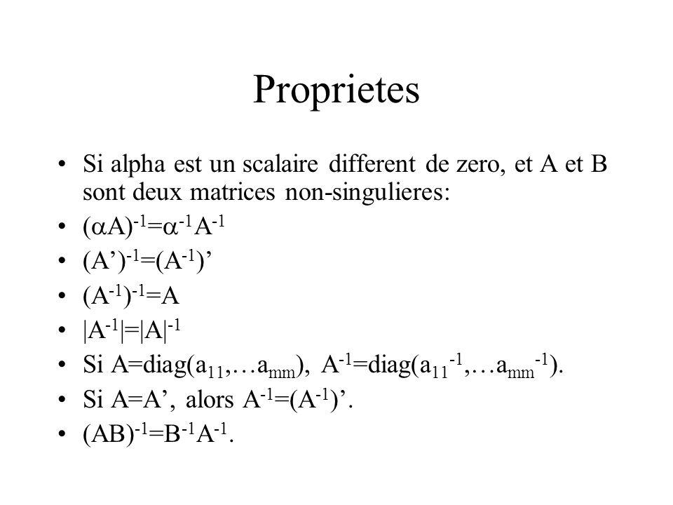 Proprietes Si alpha est un scalaire different de zero, et A et B sont deux matrices non-singulieres: