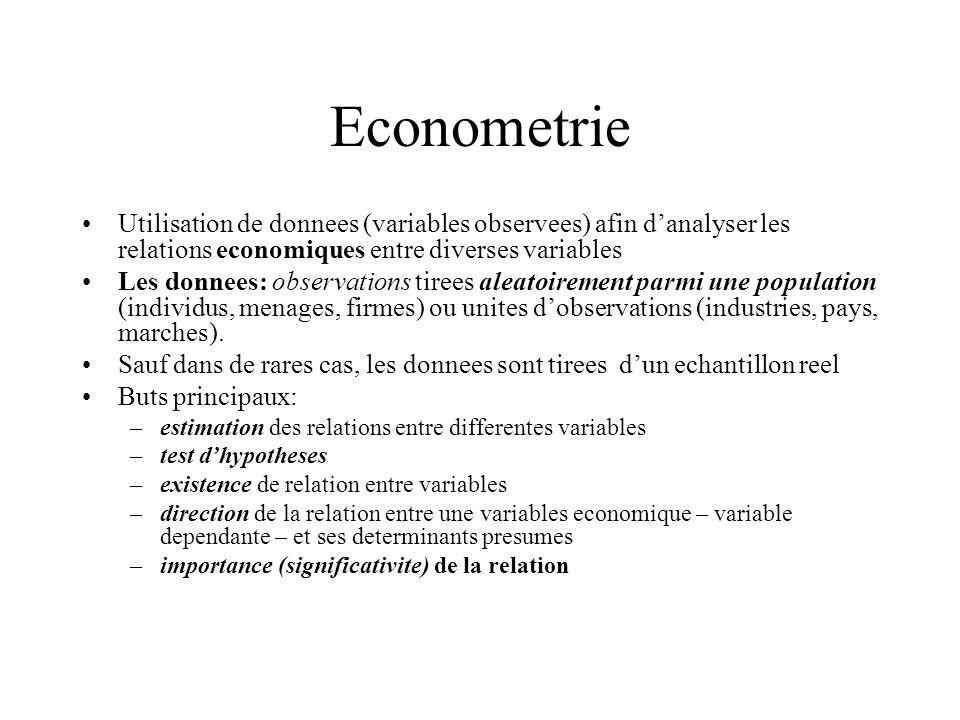 Econometrie Utilisation de donnees (variables observees) afin d'analyser les relations economiques entre diverses variables.