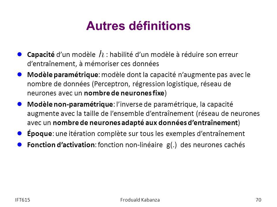 Autres définitions Capacité d'un modèle : habilité d'un modèle à réduire son erreur d'entraînement, à mémoriser ces données.