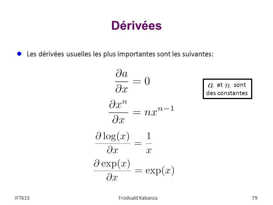 Dérivées Les dérivées usuelles les plus importantes sont les suivantes: et sont. des constantes.