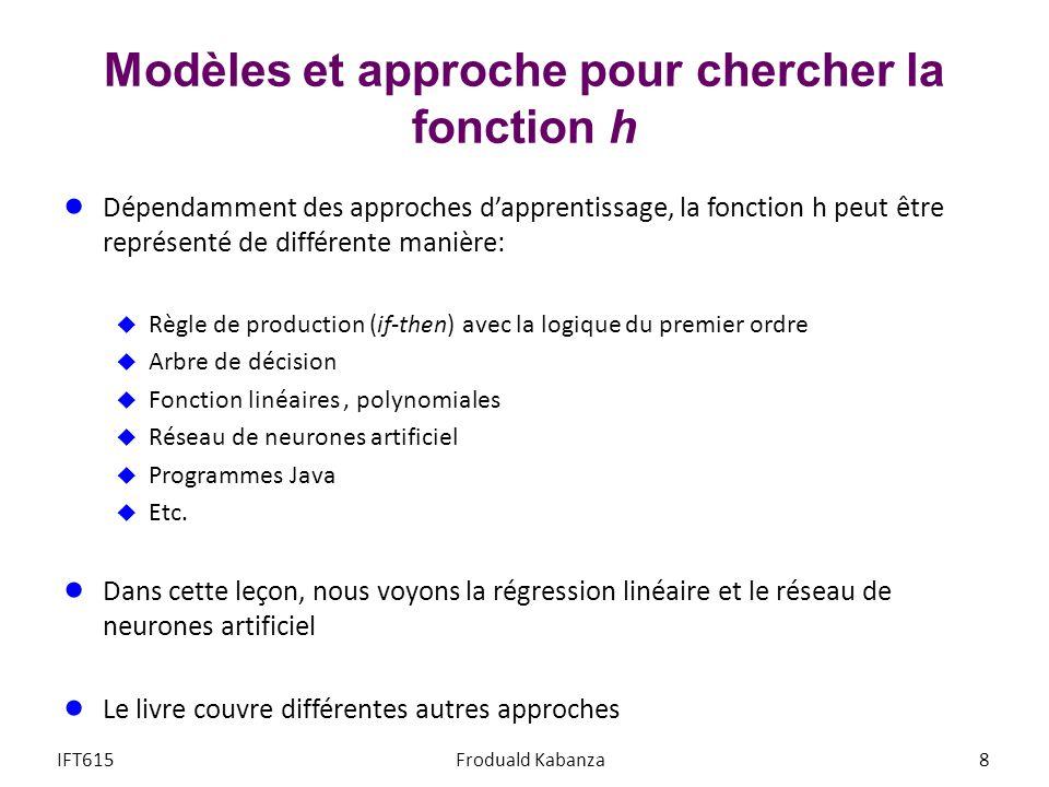 Modèles et approche pour chercher la fonction h