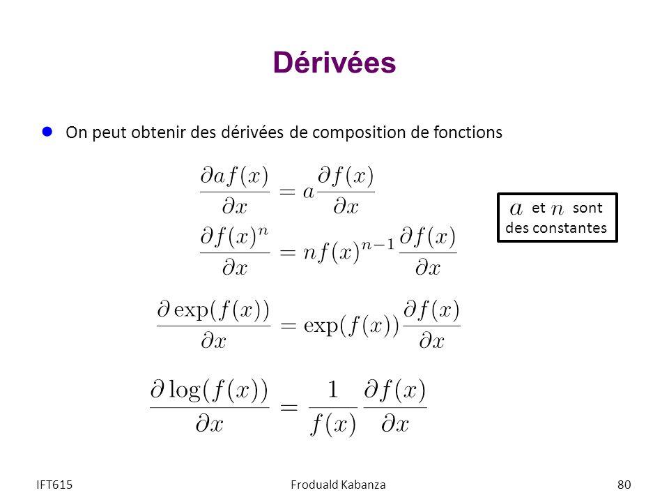 Dérivées On peut obtenir des dérivées de composition de fonctions