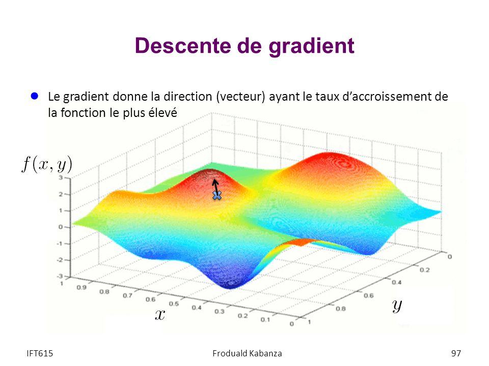 Descente de gradient Le gradient donne la direction (vecteur) ayant le taux d'accroissement de la fonction le plus élevé.