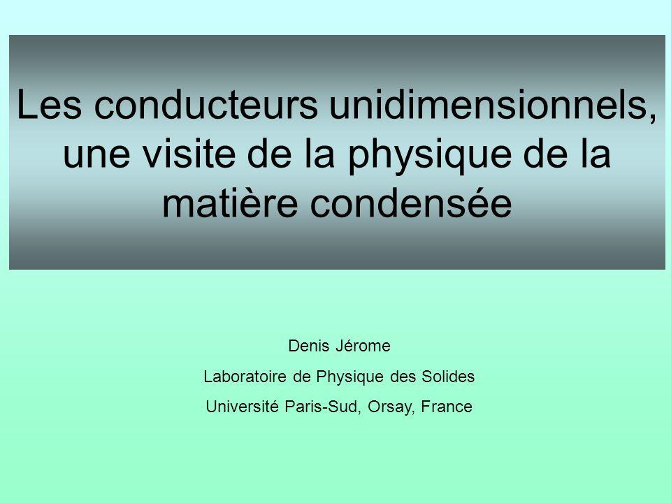 Les conducteurs unidimensionnels, une visite de la physique de la matière condensée