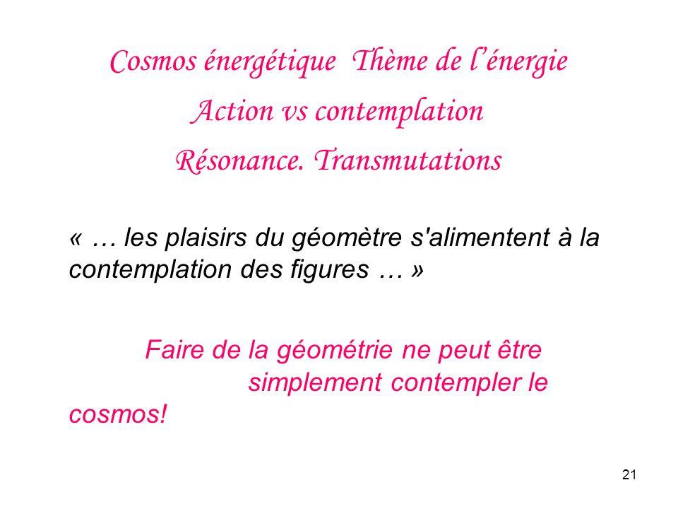 Cosmos énergétique Thème de l'énergie Action vs contemplation Résonance. Transmutations