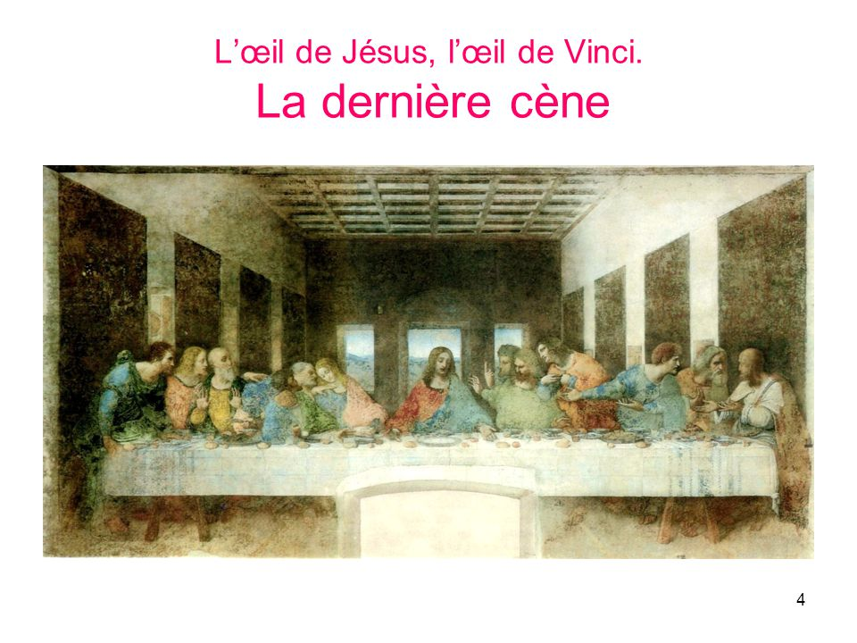 L'œil de Jésus, l'œil de Vinci. La dernière cène
