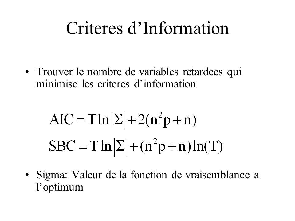 Criteres d'Information