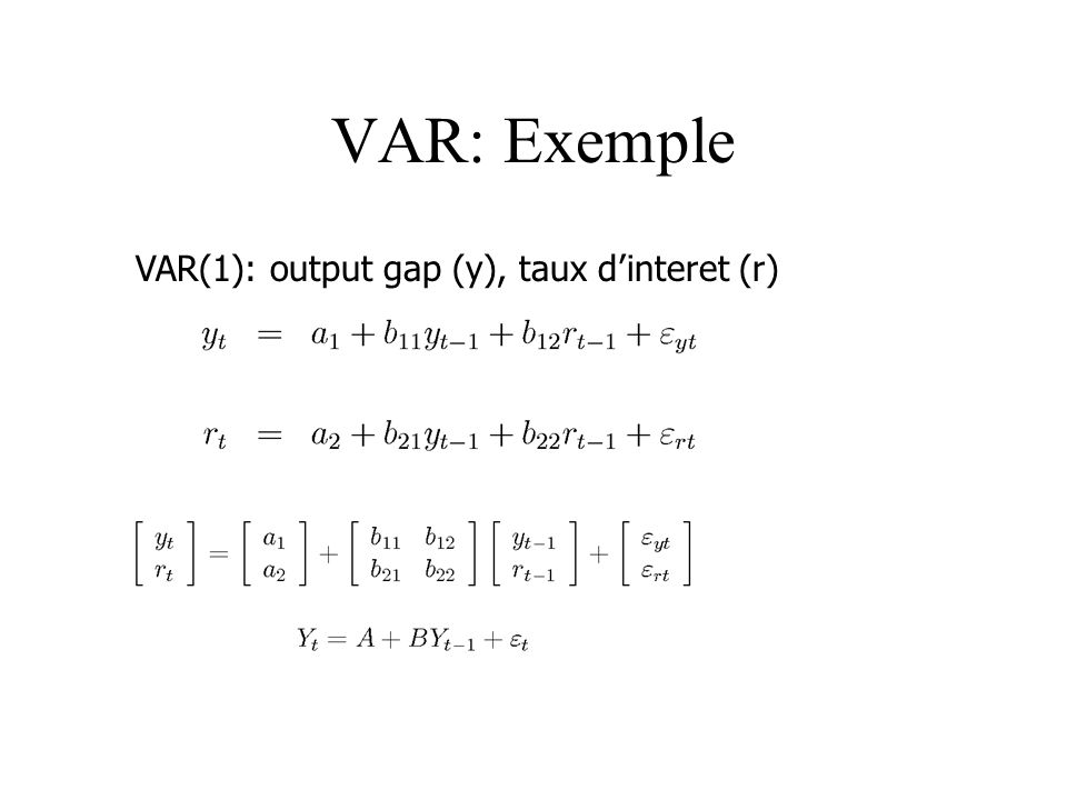 VAR: Exemple VAR(1): output gap (y), taux d'interet (r)