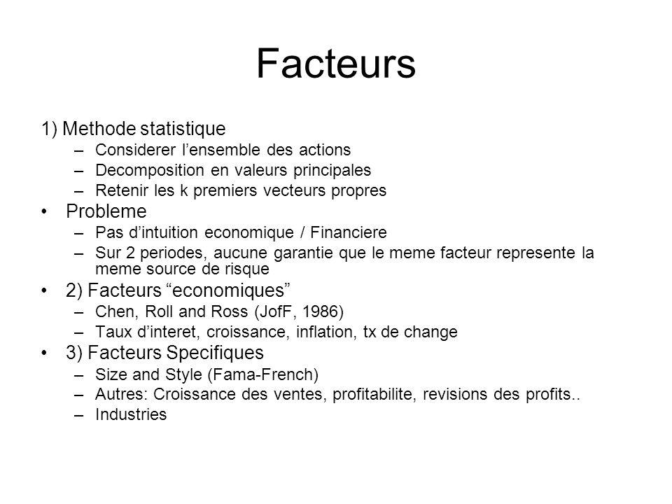 Facteurs 1) Methode statistique Probleme 2) Facteurs economiques