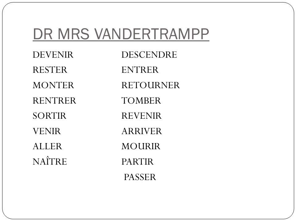 DR MRS VANDERTRAMPP DEVENIR DESCENDRE RESTER ENTRER MONTER RETOURNER RENTRER TOMBER SORTIR REVENIR VENIR ARRIVER ALLER MOURIR NAÎTRE PARTIR PASSER