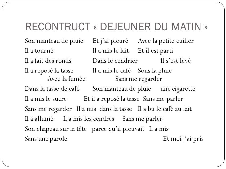 RECONTRUCT « DEJEUNER DU MATIN »
