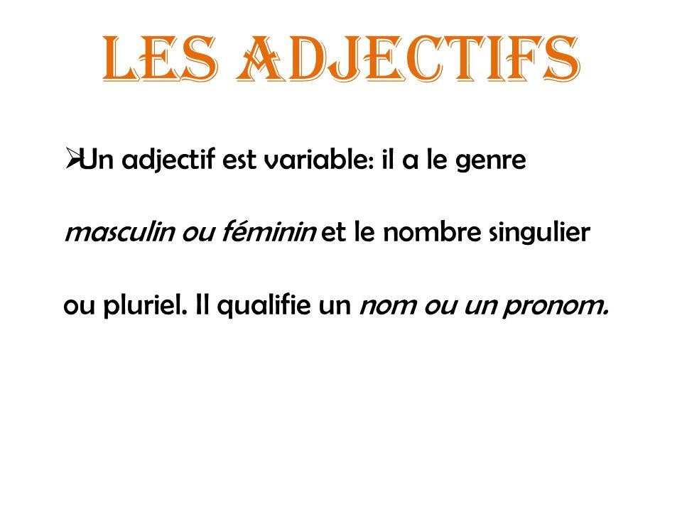 Les adjectifs Un adjectif est variable: il a le genre masculin ou féminin et le nombre singulier ou pluriel.