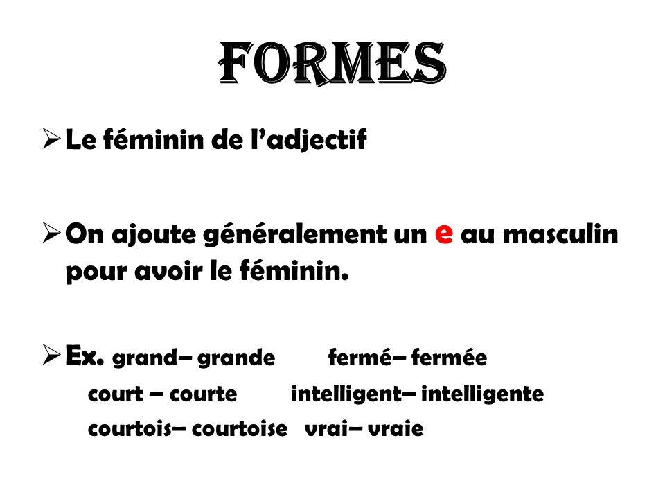 Formes Le féminin de l'adjectif