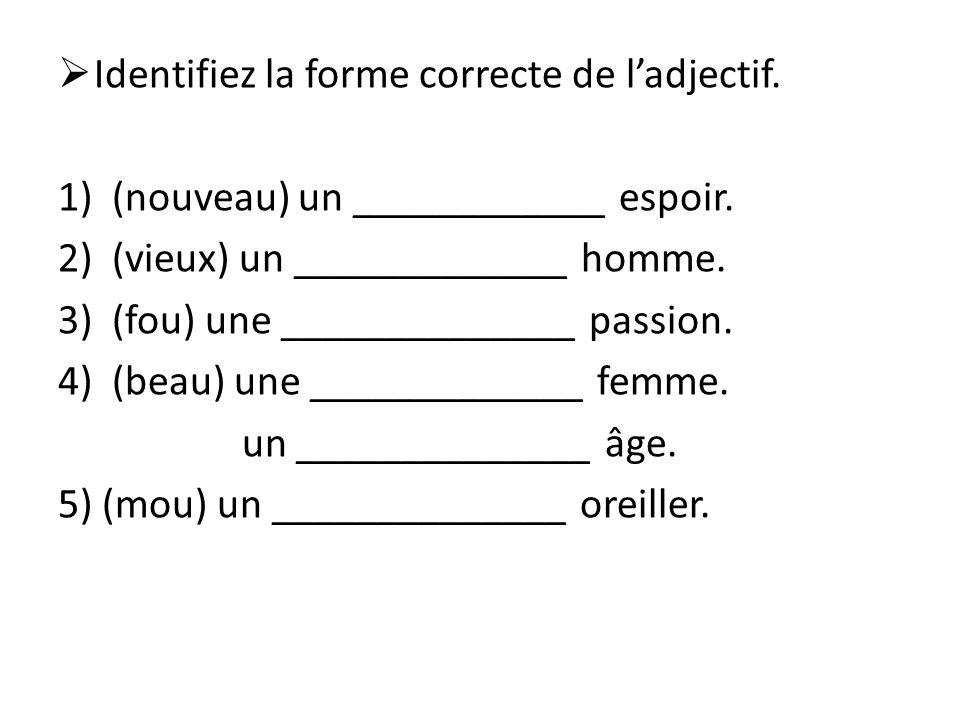 Identifiez la forme correcte de l'adjectif.