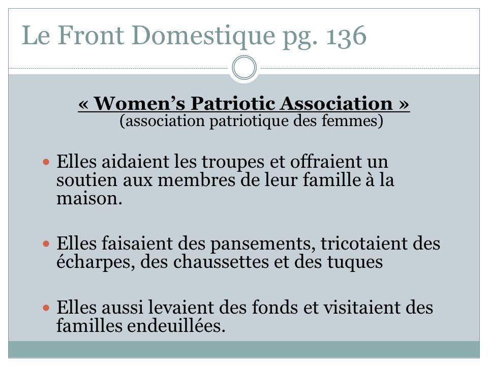 « Women's Patriotic Association » (association patriotique des femmes)