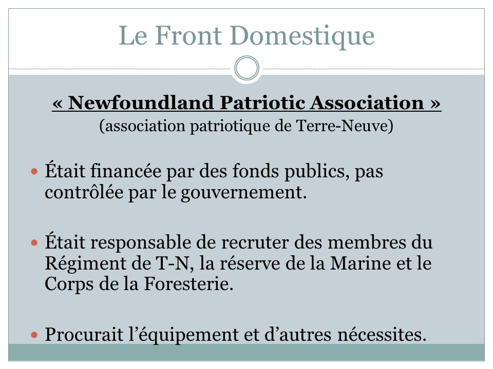 « Newfoundland Patriotic Association »