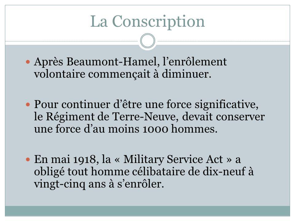 La Conscription Après Beaumont-Hamel, l'enrôlement volontaire commençait à diminuer.