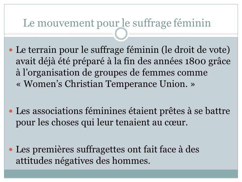 Le mouvement pour le suffrage féminin