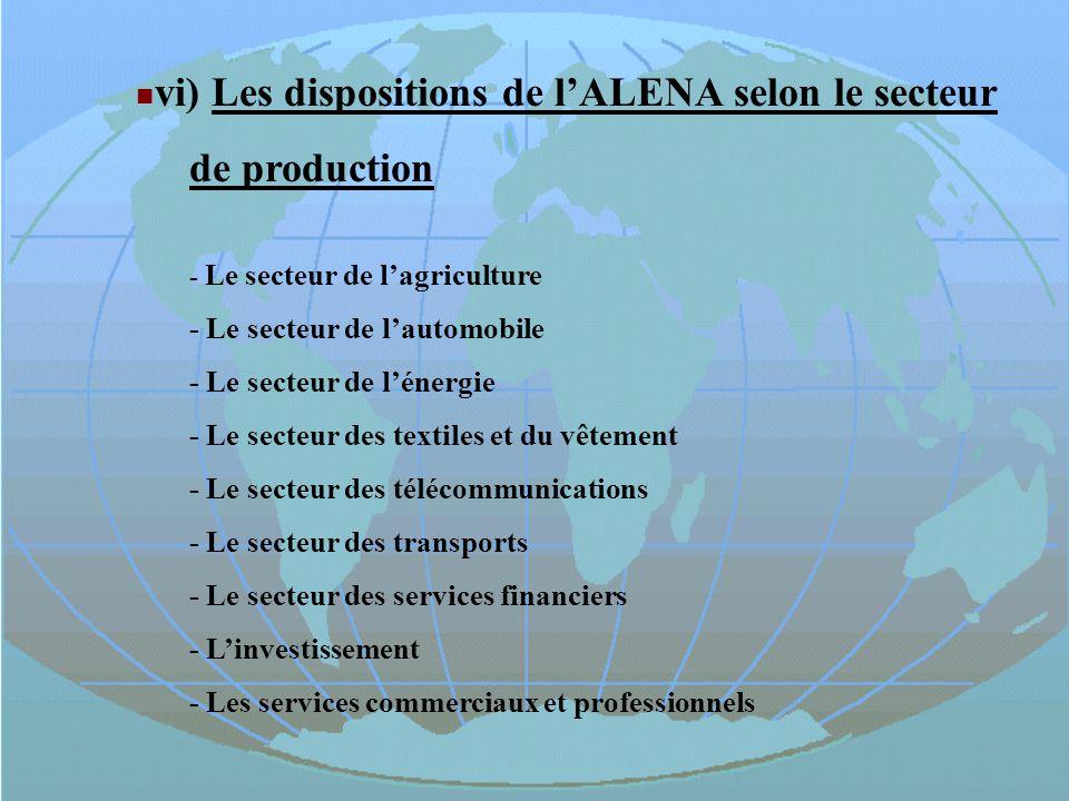 vi) Les dispositions de l'ALENA selon le secteur de production