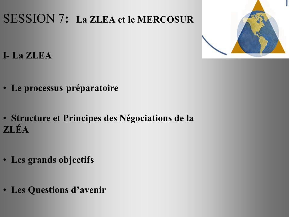 SESSION 7: La ZLEA et le MERCOSUR