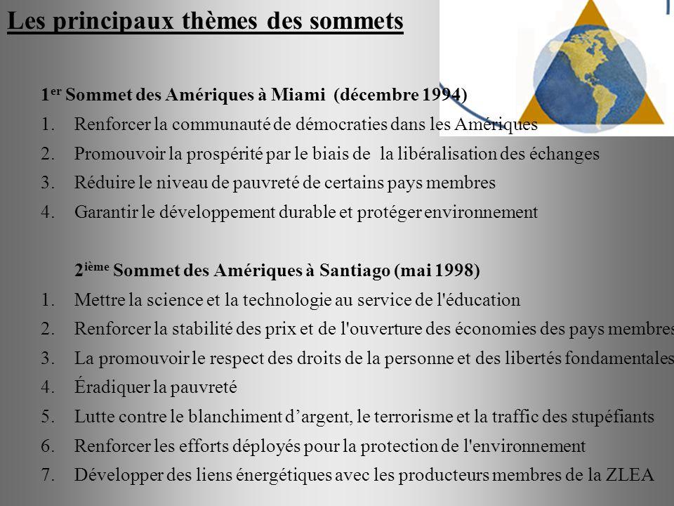 Les principaux thèmes des sommets