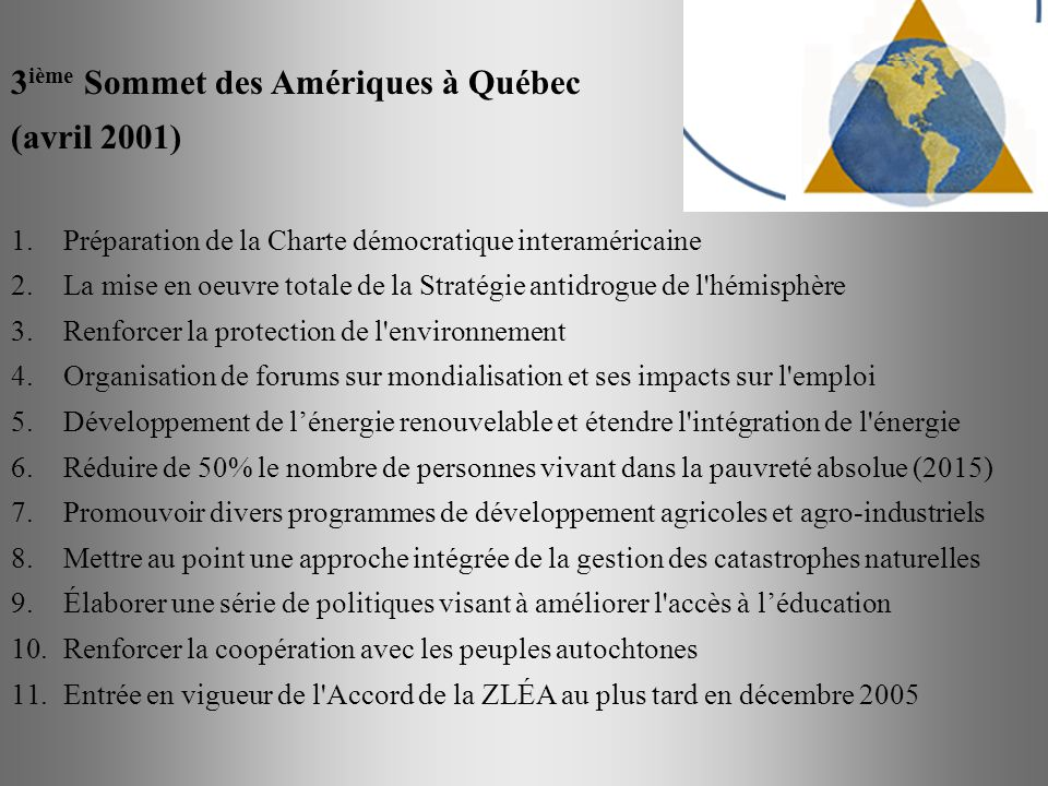 3ième Sommet des Amériques à Québec (avril 2001)