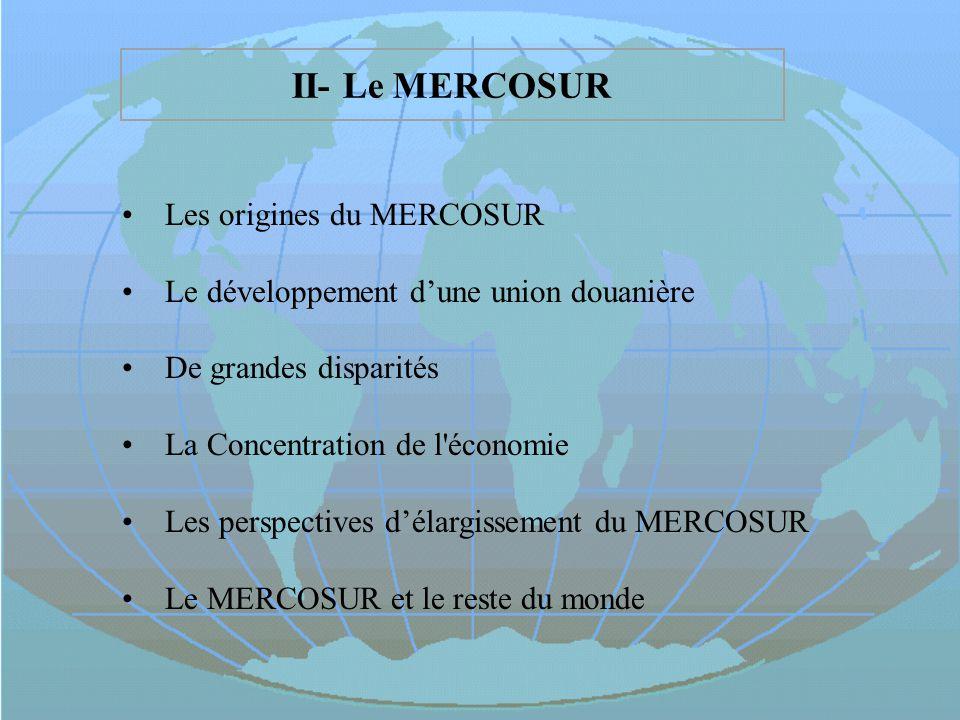 II- Le MERCOSUR Les origines du MERCOSUR