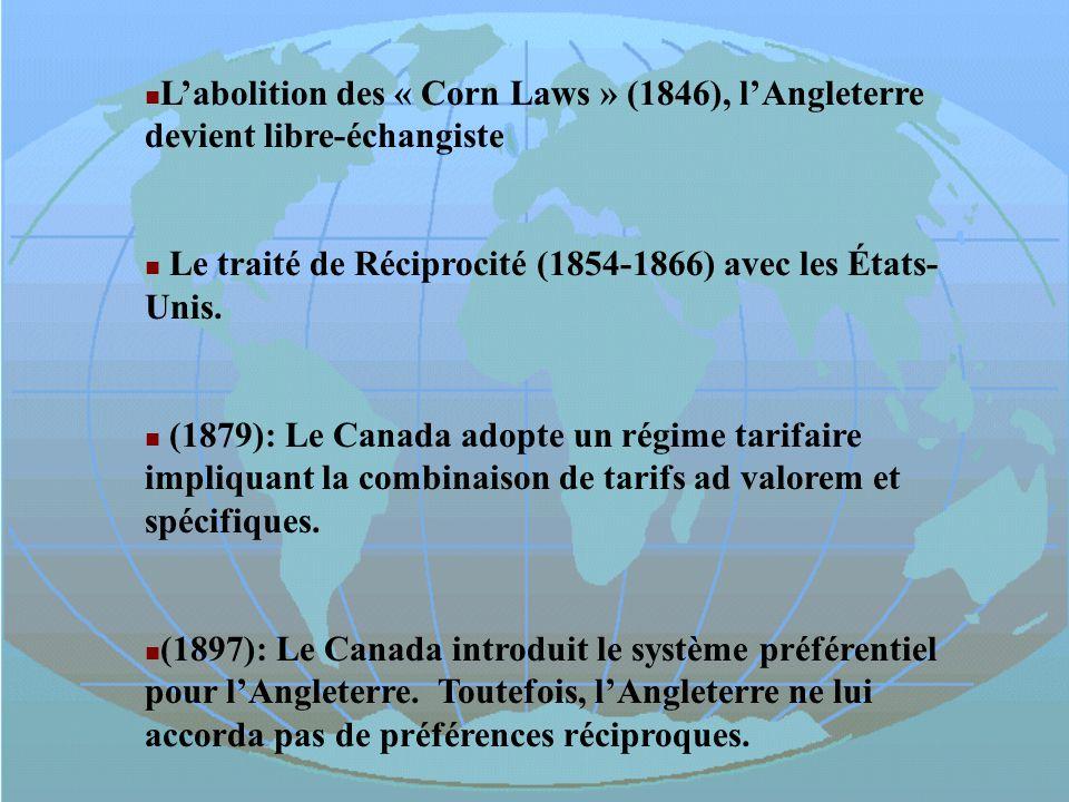 Le traité de Réciprocité (1854-1866) avec les États-Unis.