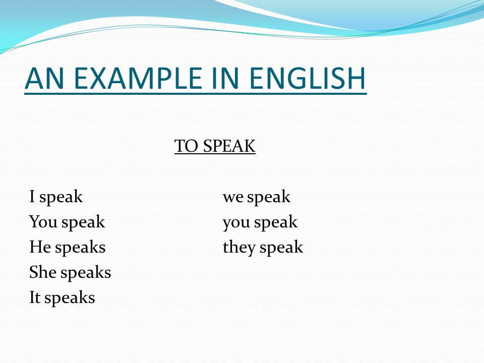 AN EXAMPLE IN ENGLISH TO SPEAK I speak we speak You speak you speak He speaks they speak She speaks It speaks
