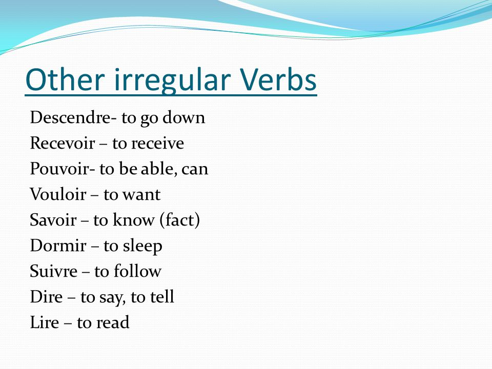 Other irregular Verbs